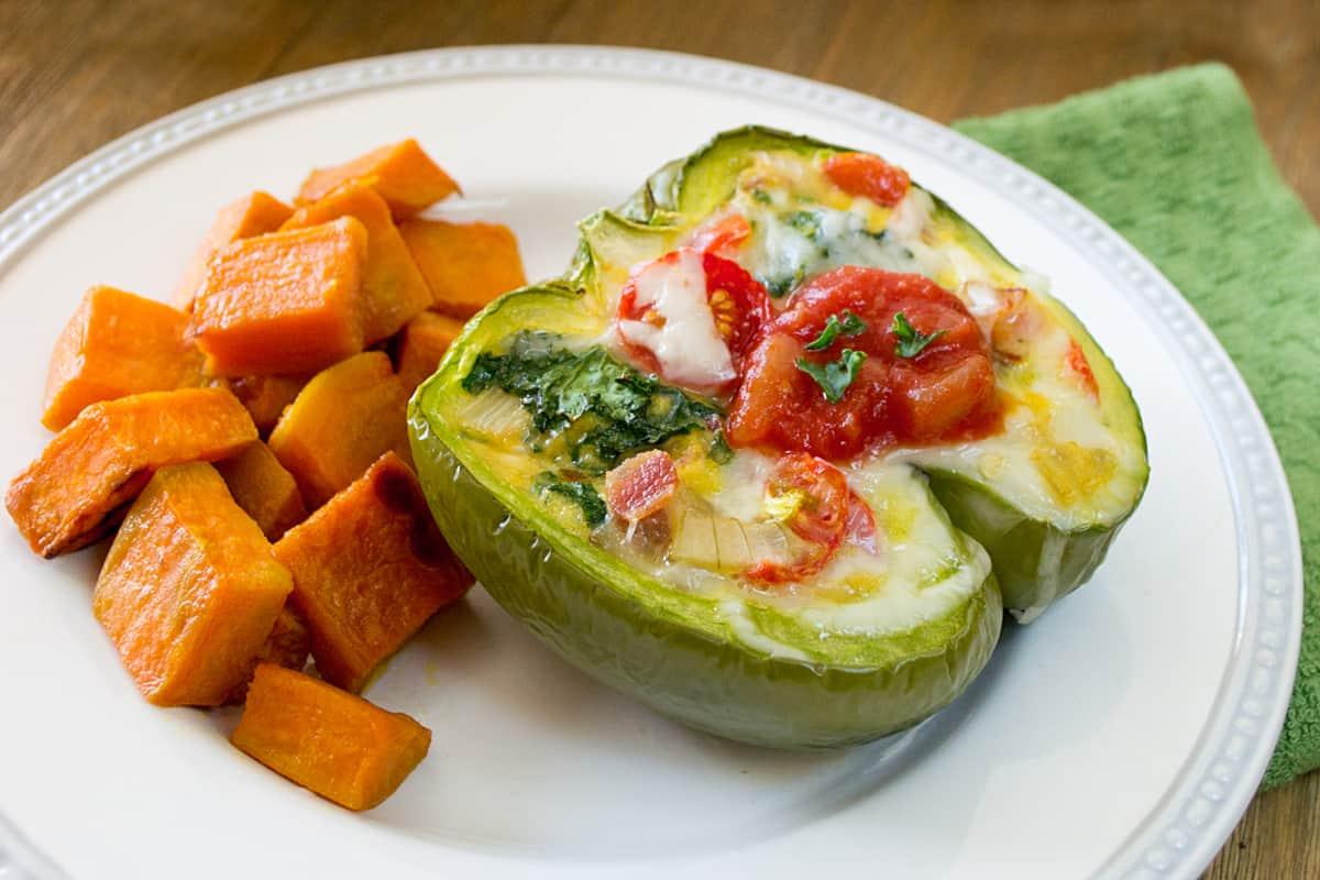 kale and bacon breakfast stuffed peppers
