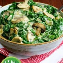 creamed spinach and mushrooms pin