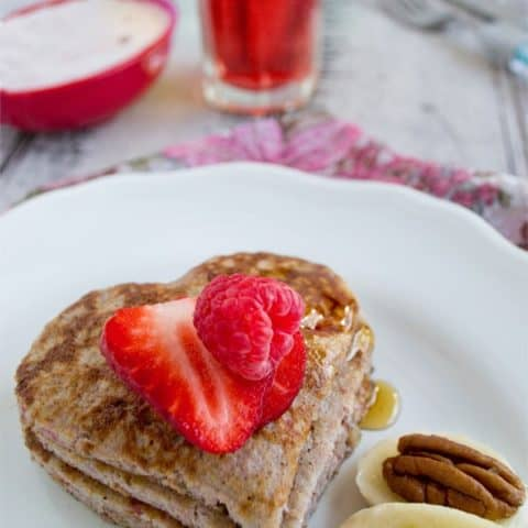 Flourless Raspberry Banana Pancakes