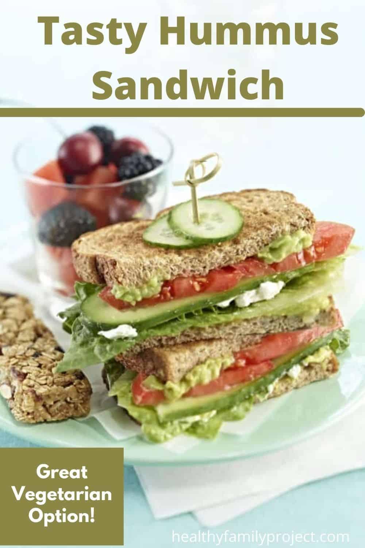 tasty hummus sandwich pinterest image