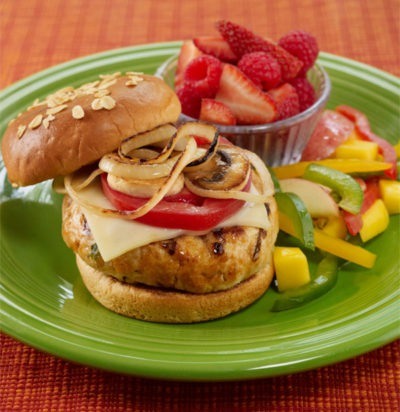 Turkey Burgers & Rainbow Salad