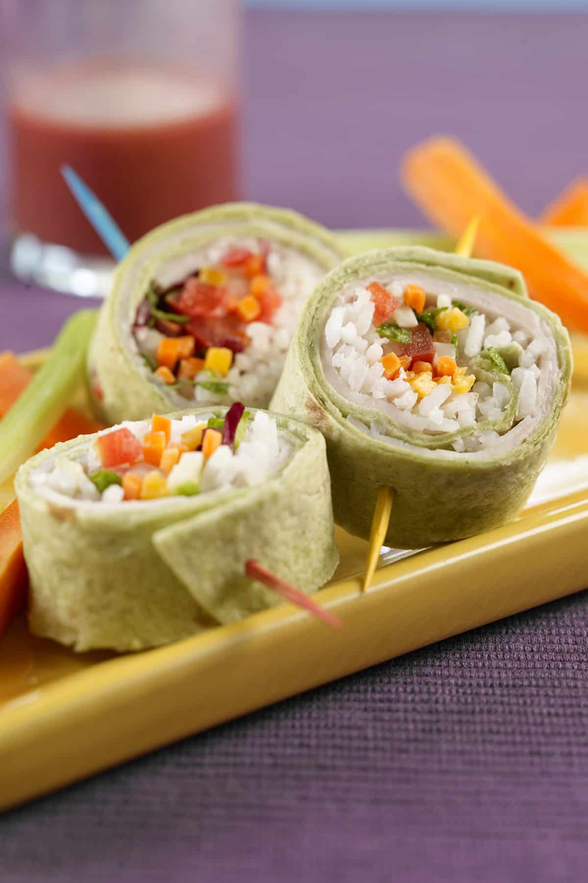 Turkey Sushi Rolls Vertical image close up