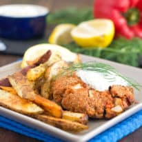 Baked Salmon Cakes & Potato Wedges