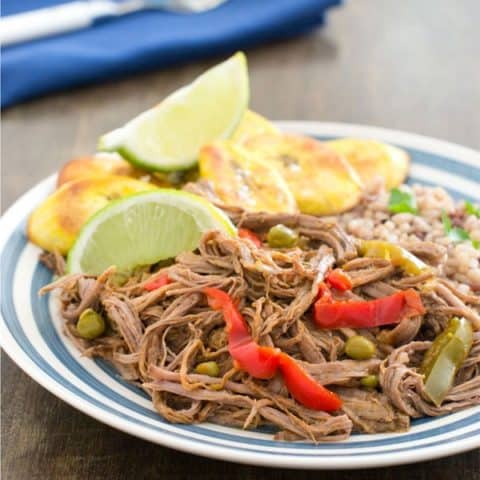 Healthy Slow Cooker Ropa Vieja with Baked Plantain Chips