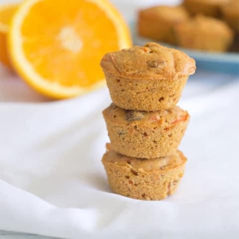 Orange Carrot Raisin Mini Muffins