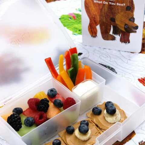 Brown Bear Bento Box with Rainbow Fruit Salad