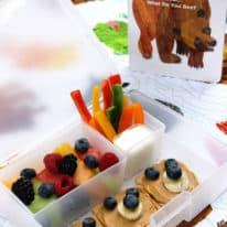 Brown Bear Bento Box with Rainbow Fruit Salad