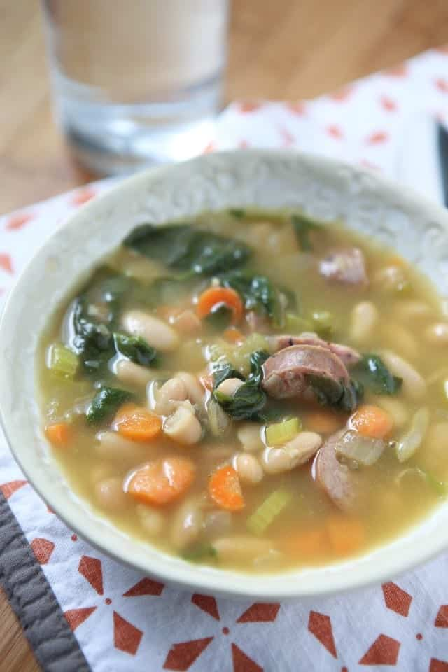 SMOKED SAUSAGE AND WHITE BEAN SOUP WITH SPINACH