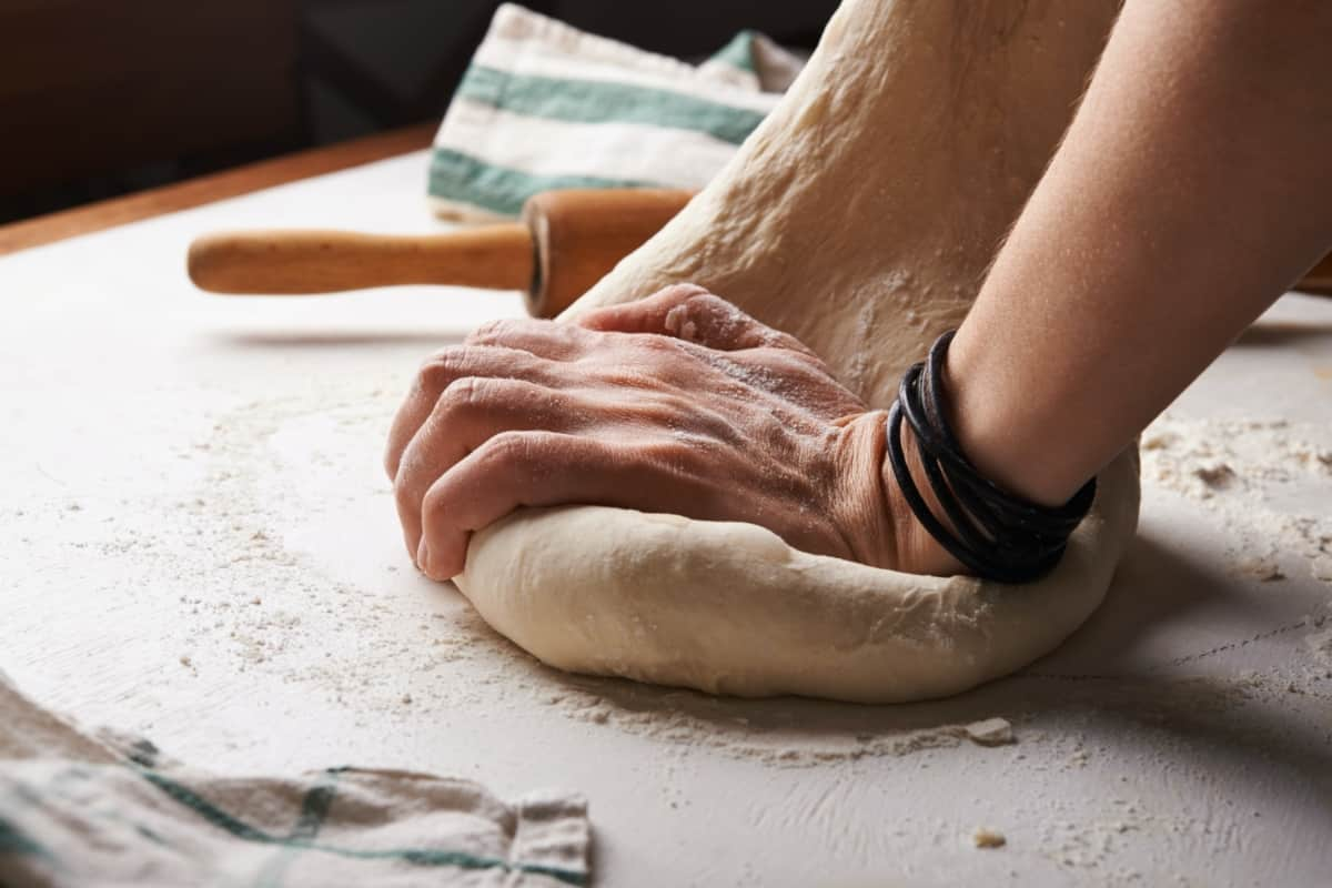 making pizza dough for pizza pockets