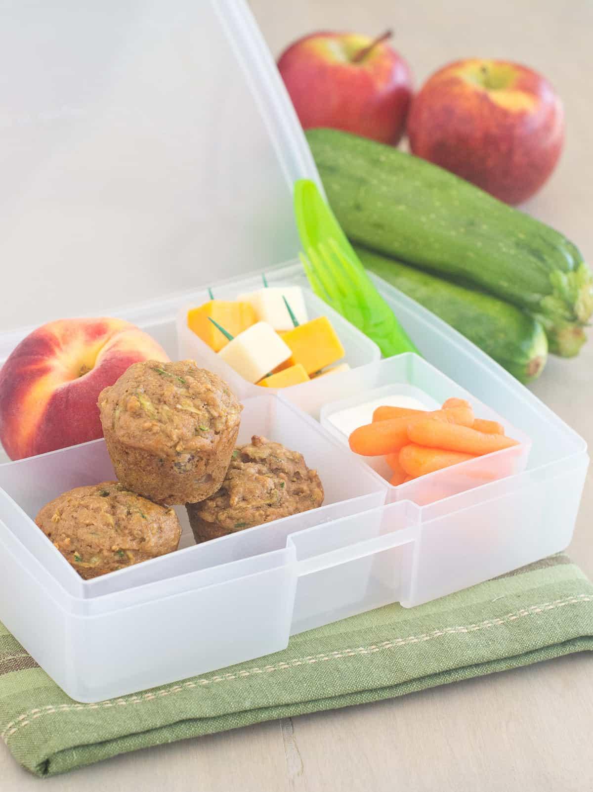 how to make apple zucchini mini muffins bento box