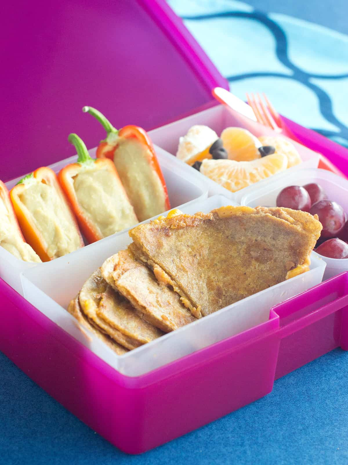 how to make southwest quesadillas and pepper boats bento box