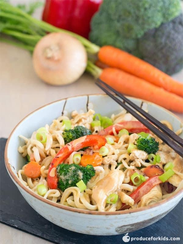 Thai Peanut Chicken & Vegetable Noodle Stir-Fry