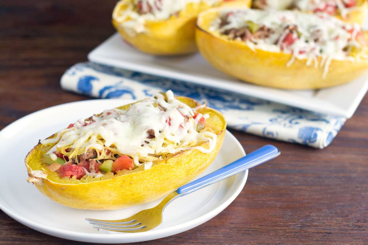 Baked Spaghetti Squash Topped With Beef