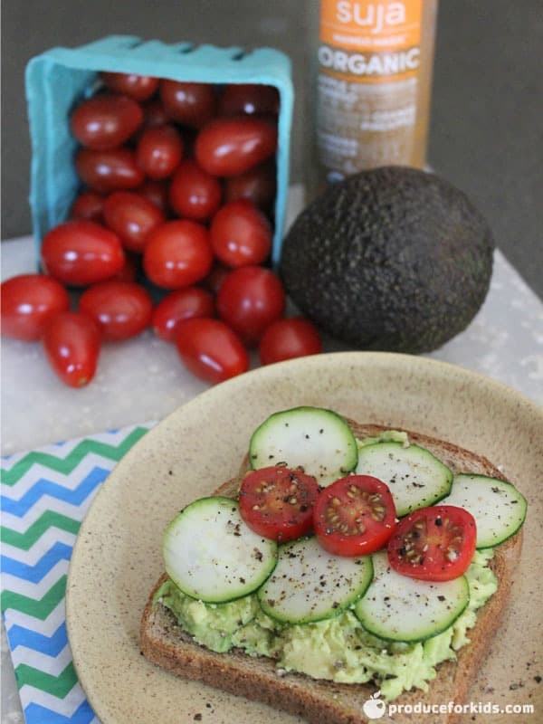 Avocado Toast with Grape Tomatoes & Zucchini