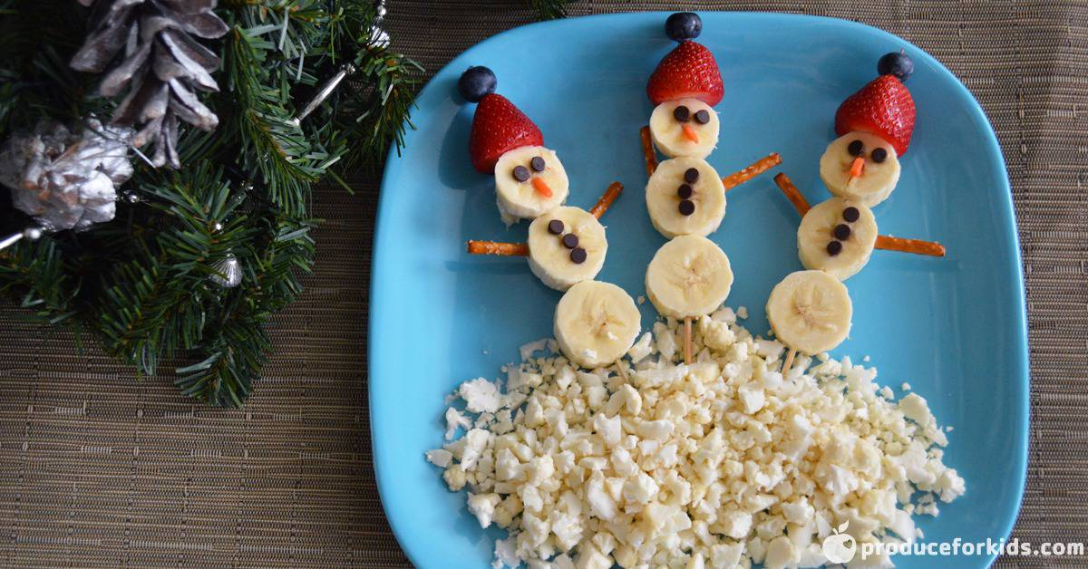 Snowman Fruit Kabobs Produce For Kids