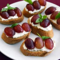 Grape, Cream Cheese & Basil Crostini