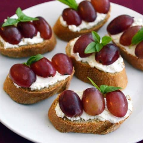 Grape, Cream Cheese & Basil Crostini