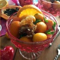 Kumquat Papaya Salad with Honey Citrus Mint Dressing
