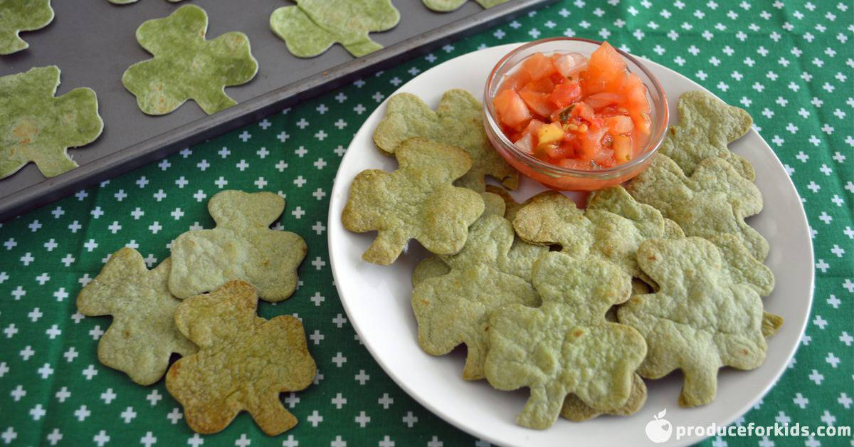 st. patrick's day shamrock chips and salsa