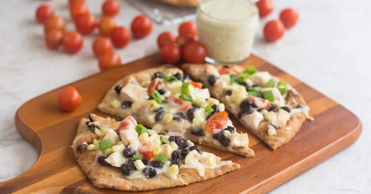 southwest chicken naan pizza