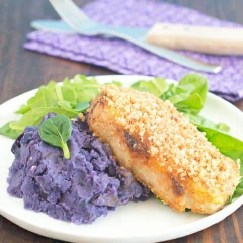 Easy Baked Pork Chops & Purple Mashed Potatoes