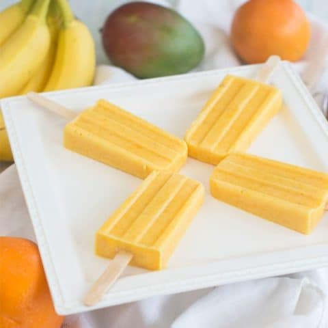 Orange, Mango & Banana Smoothie Popsicles