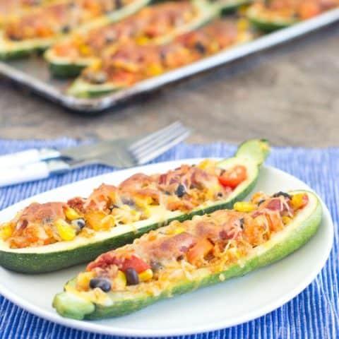 Roasted Vegetarian Taco Zucchini Boats