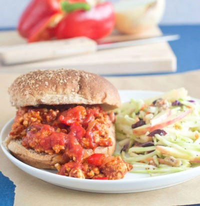 Zesty Turkey Sloppy Joes & Broccoli Apple Slaw