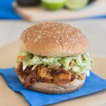 BBQ Jackfruit Sandwich with Avocado Slaw