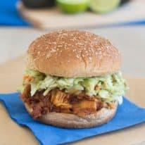 BBQ Jackfruit Sandwich with Avocado Slaw