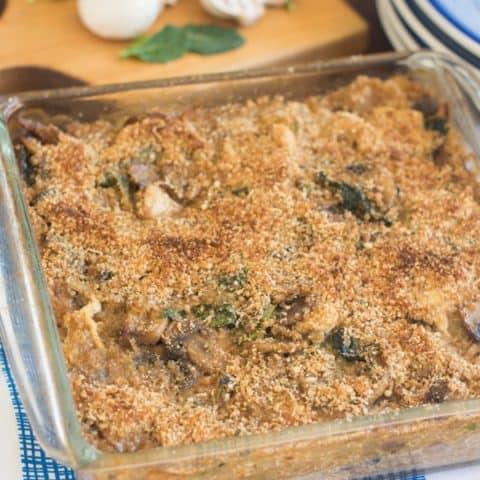 Mushroom, Kale & Chicken Quinoa Casserole