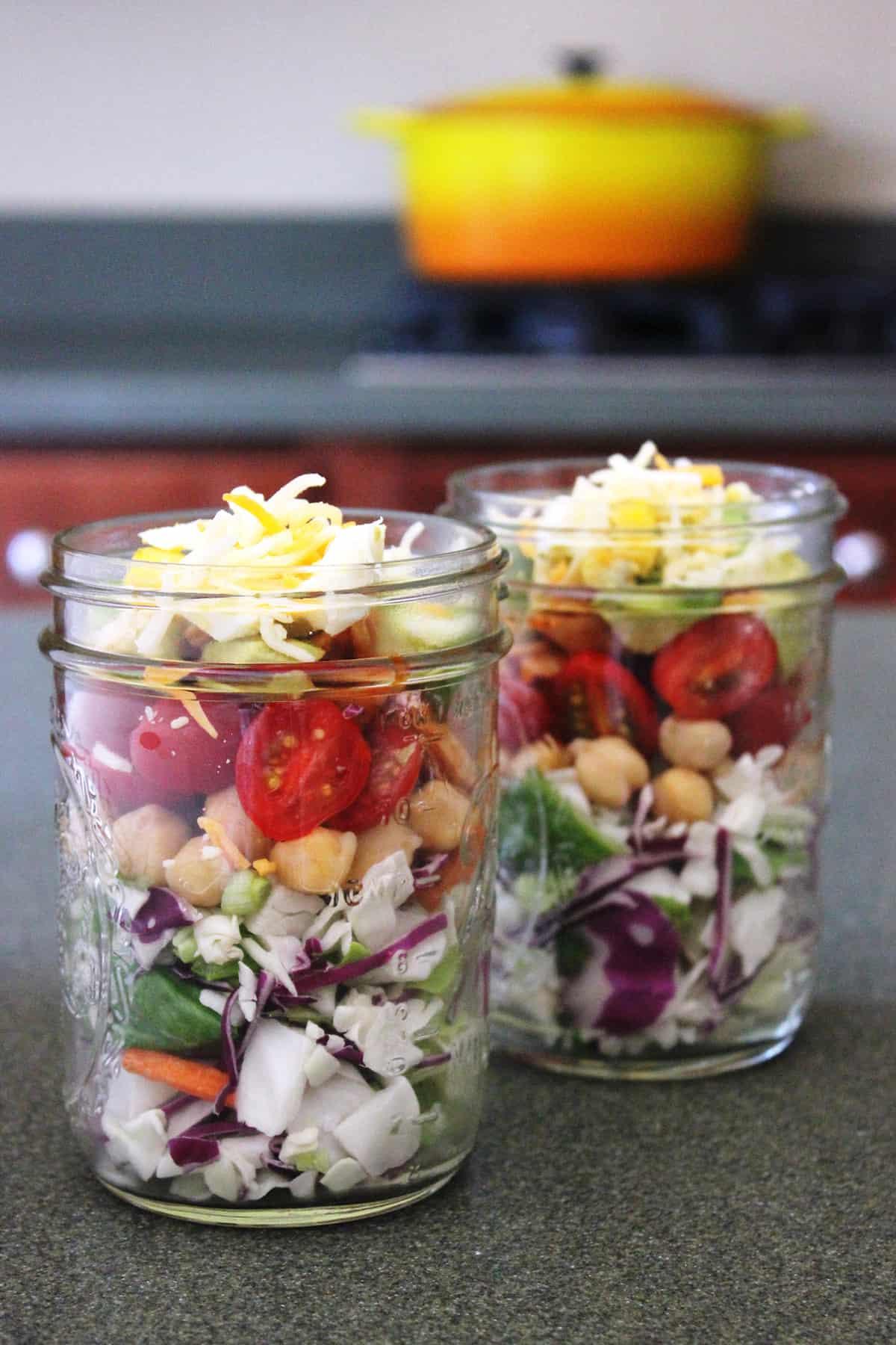 best bbq chicken chopped salad in mason jar