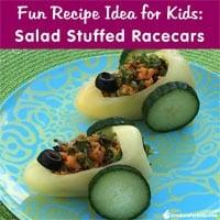 Fun Recipe Idea for Kids: Salad Stuffed Racecars