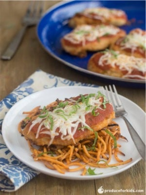 Baked Chicken Parmesan with Sweet Potato Noodles