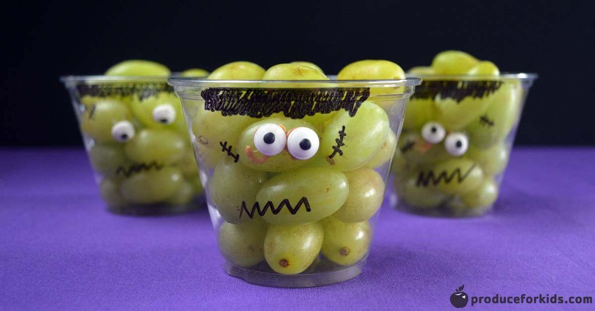 Frankenstein Grape Cups Easy Halloween Snack Produce