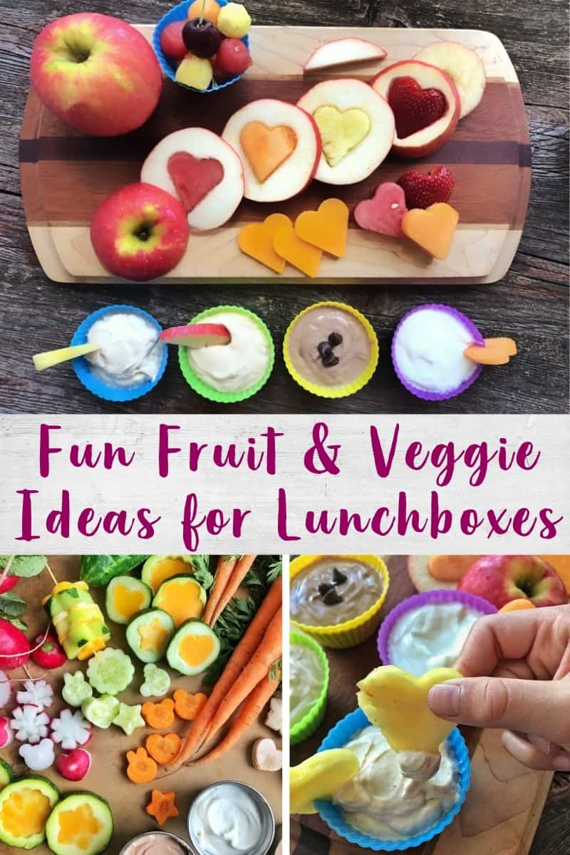 Collage of fruit and veggie shapes for lunchboxes