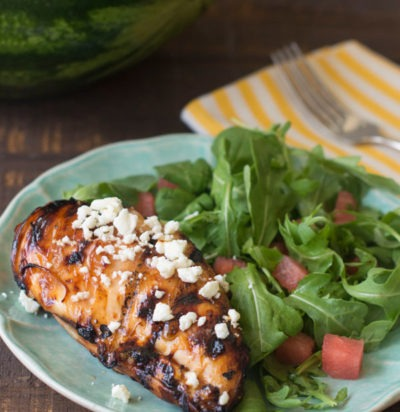 Grilled Chicken with Watermelon Glaze and Feta
