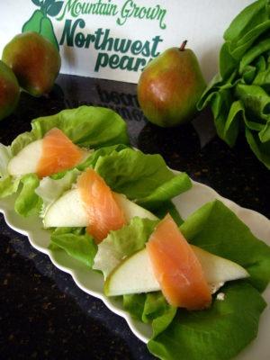 Pear & Salmon Lettuce Wrap Appetizers