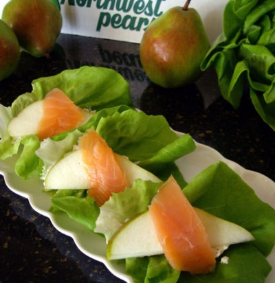 Pear & Salmon Lettuce Wrap Appetizers