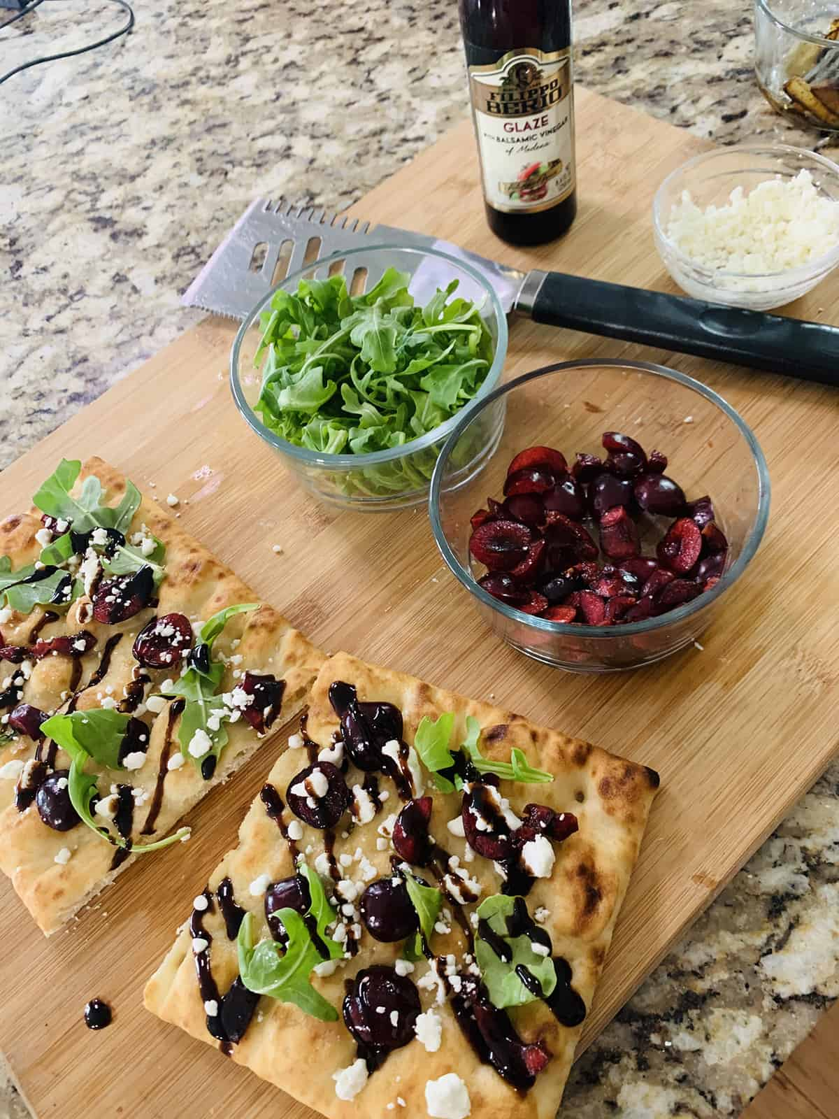 Easy Cherry and Goat Cheese Flatbread Pizza