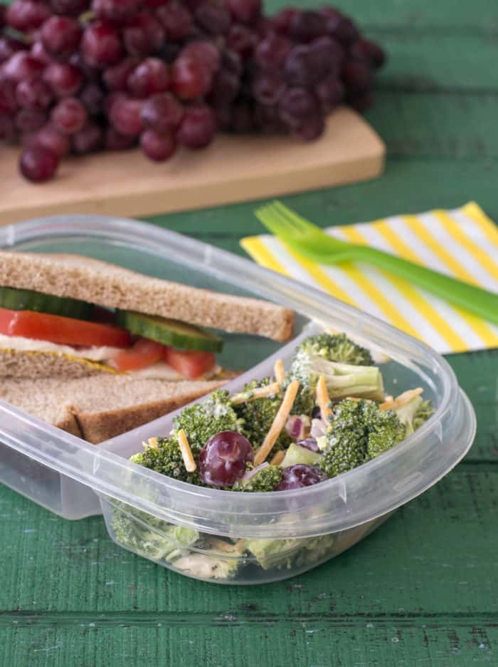 Close up of bento box containing sandwich and broccoli grape salad on green wood background.