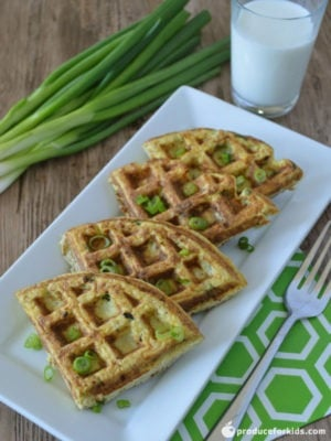 Cheesy Cauliflower Hashbrown Waffles - Who says waffles have to be sweet? Go the savory route with these Cheesy Cauliflower Hashbrown Waffles! Cauliflower is a excellect source of Vitamin C, and this recipe starts the day off right with 123% of your daily intake. Top with an egg prepared your favorite way for an extra protein boost.
