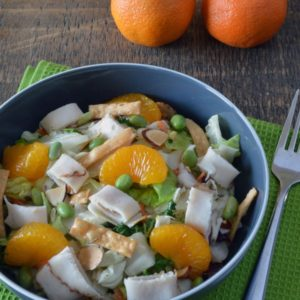 Chopped Chinese Chicken Salad - A bagged salad kit gets a hearty spin with the addition of chicken, mandarins and edamame. To save time in the kitchen, we made this salad with sliced deli chicken, but any leftover chicken would work well in this dish.