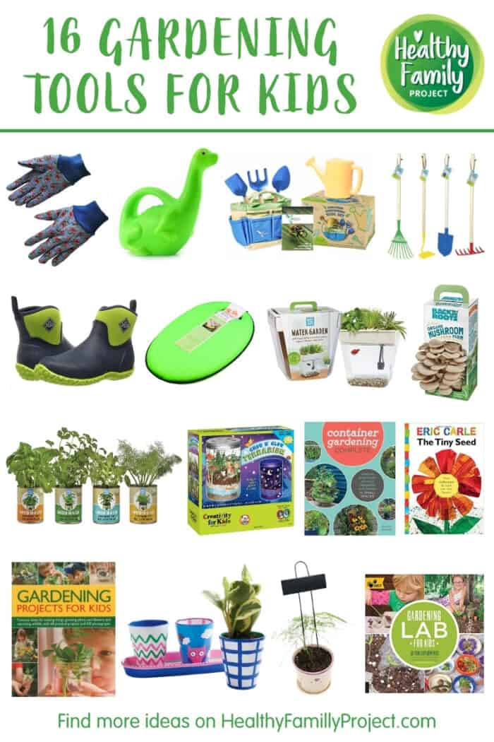 Collage of gardening tools for kids.