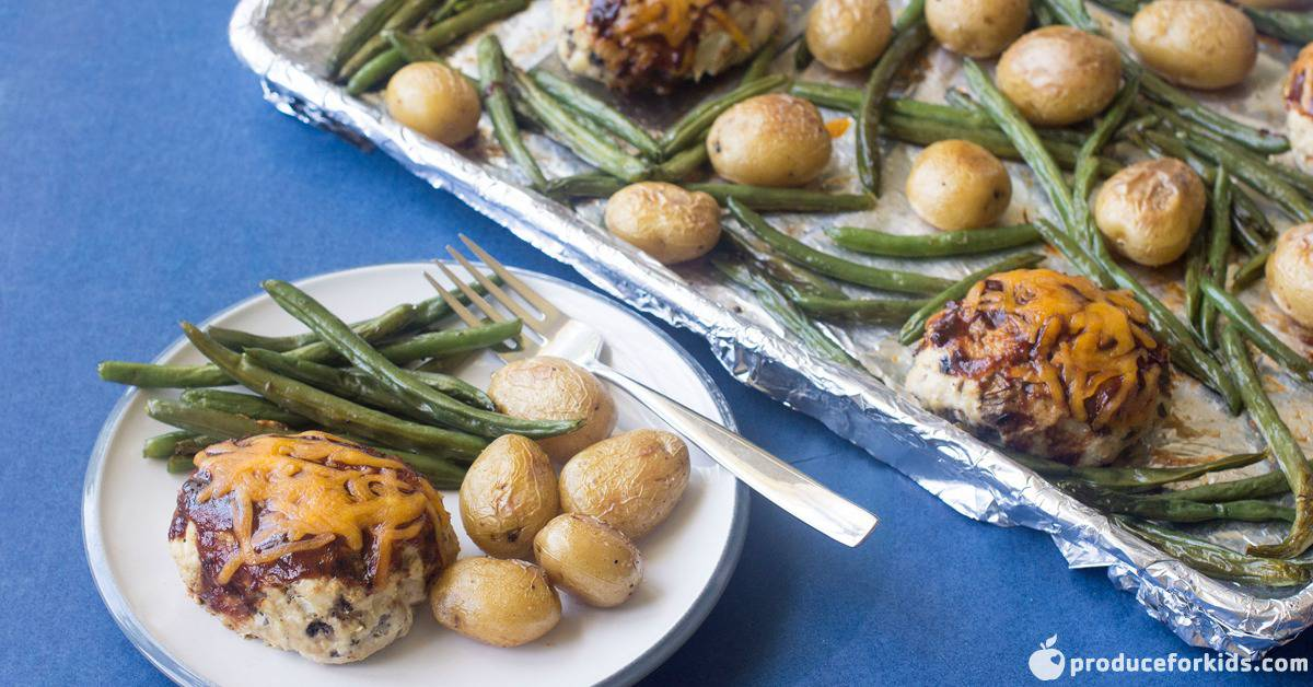 Mini BBQ Turkey Meatloaf Sheet Pan Dinner