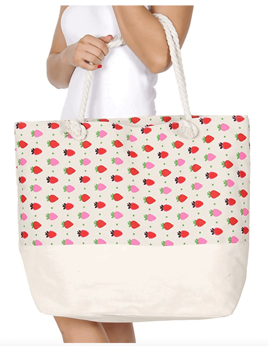 Large Canvas Strawberry Beach Bags