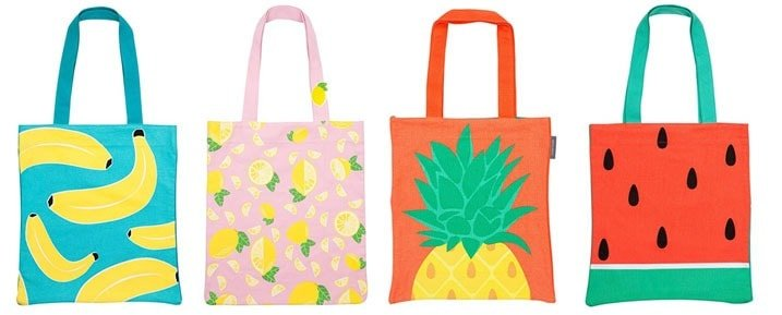 Fruit Beach Tote Bags (Bananas, Pineapple, Lemons & Watermelon)