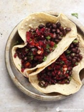 Black Bean Street Tacos with Sweet & Spicy Cherry Salsa