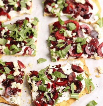 Cherry Flatbread with Ricotta, Gorgonzola & Arugula