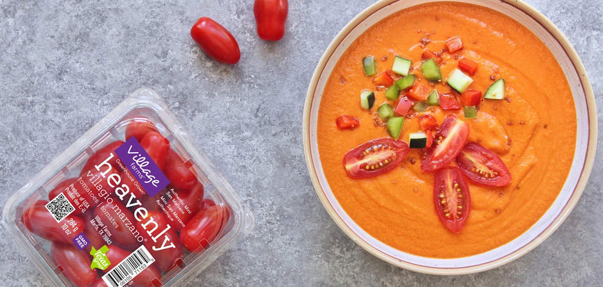 Best Red Pepper and Roasted Tomato Gazpacho